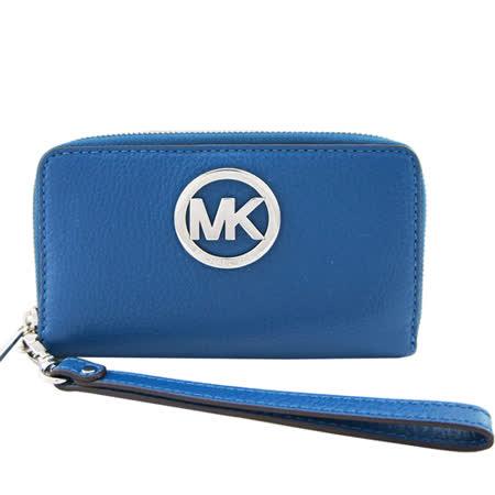MICHAEL KORS Fulton圓MK牌飾荔枝紋牛皮對開中夾/手機夾(鐵灰藍)
