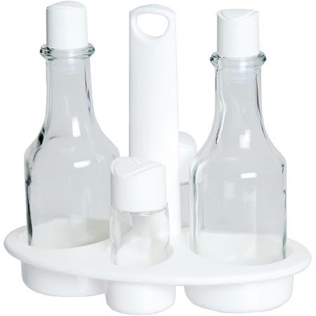 《EXCELSA》Rainbow附座+調味瓶罐4件(白)