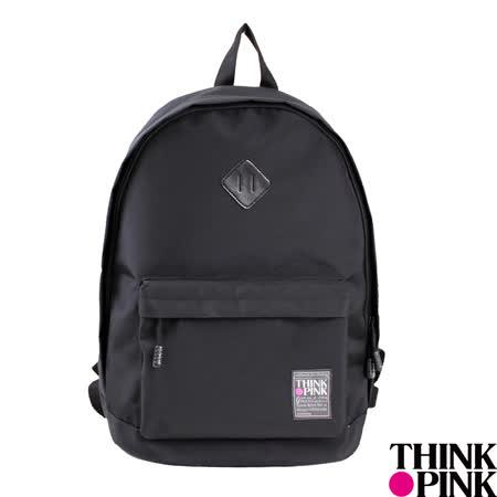【THINK PINK】經典百搭系列 簡約純色 後背包 -黑
