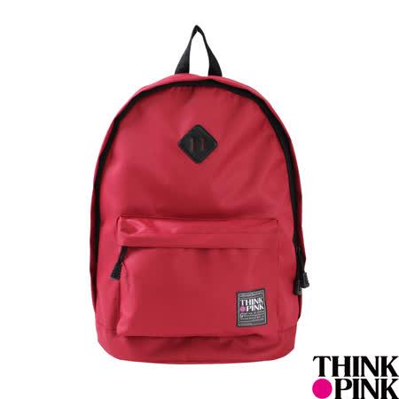 【THINK PINK】經典百搭系列 簡約純色 後背包 -紅