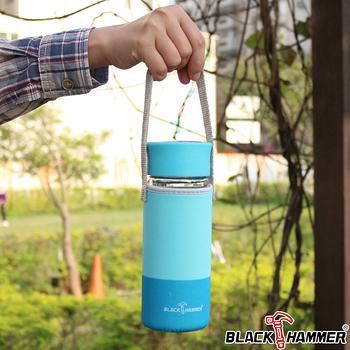 (任選) 義大利 BLACK HAMMER 雙層耐熱玻璃水瓶 300ml-藍色