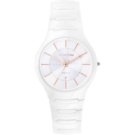 Relax Time 經典藍寶石陶瓷腕錶-白x玫塊金時標/37mm RT-26-C2