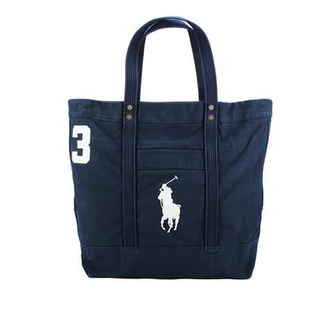 POLO Ralph Lauren  經典logo帆布肩背大托特包-軍藍色
