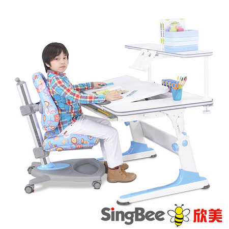 【SingBee欣美】益學L桌椅組合+加大上層書架 (藍色/粉紅)
