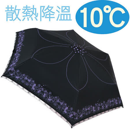 【日本雨之戀】降溫 10℃ 自動開收傘-風雨蘭{ 黑內亮紫 } 輕量/遮陽傘/雨傘/雨具/晴雨傘/UV/自動傘