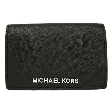 MICHAEL KORS 金屬LOGO防刮兩折短夾(黑)
