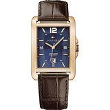 TOMMY HILFIGER 英倫石英腕錶-藍x玫塊金x咖啡/47mm M1791198