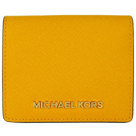 MICHAEL KORS金屬LOGO防刮皮革短夾(黃)