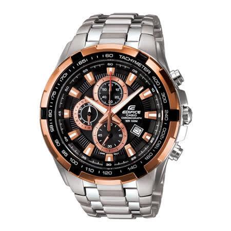 CASIO EDIFICE 勁速戰將計時賽車錶(玫瑰金色)