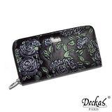 【DeckasParis】法國名品真皮皮夾薔薇手機包禮盒真皮女夾真皮長夾(黑/紅/藍)BW-0110-0