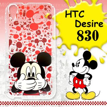 迪士尼授權正版 HTC Desire 830 / D830x 大頭背景系列透明軟式iPhone殼(摀嘴米奇)