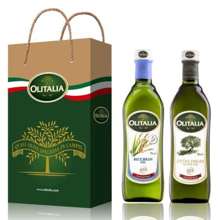 Olitalia奧利塔冷壓初榨橄欖油+玄米油禮盒組750mlx2