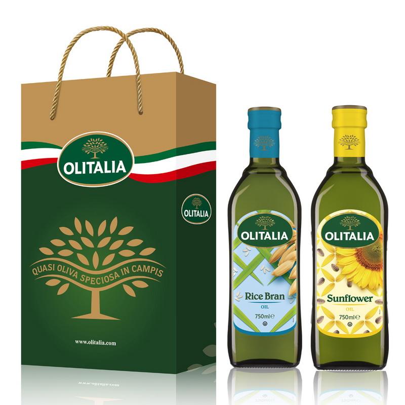Olitalia奧利塔玄米油+葵花油禮盒組(750mlx2瓶)