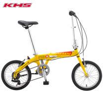 KHS 功學社 F-16D 鋁合金 16吋輪 6速折疊單車_黃色
