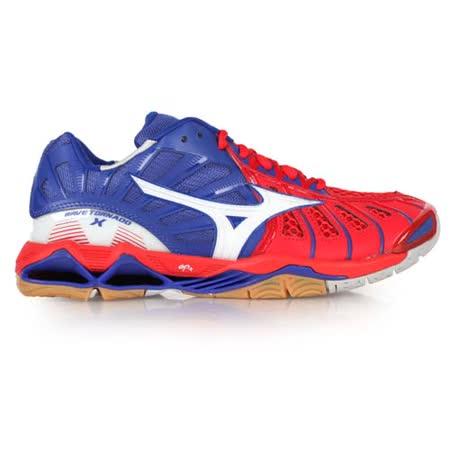 (男) MIZUNO WAVE TORNADO X 排球鞋 藍紅白