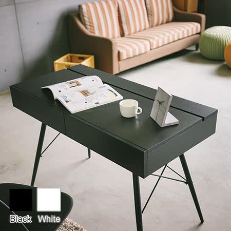 《Peachy life》工業風多功能雙抽收納上掀書桌/工作桌(2色可選)