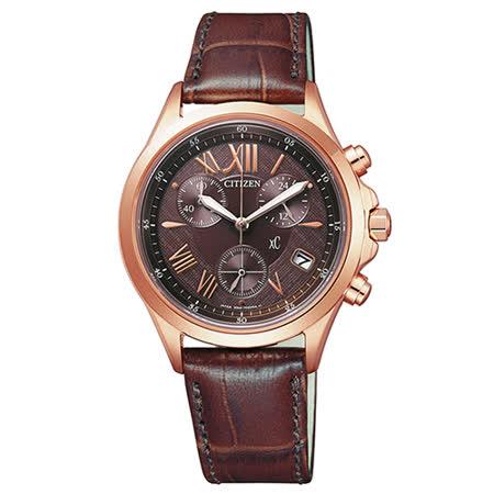 CITIZEN 星辰 xC系列 成熟時尚三眼皮帶女用腕錶-32mm/FB1403-02X