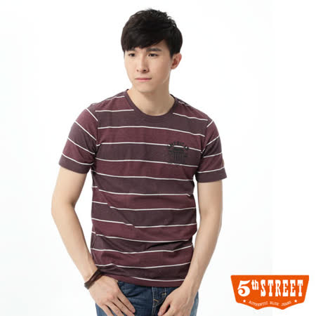 5th STREET 五彩棉粒條紋短袖T恤-男-紅色