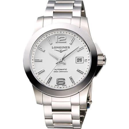 LONGINES Conquest 經典時尚機械腕錶-銀/41mm L36774766