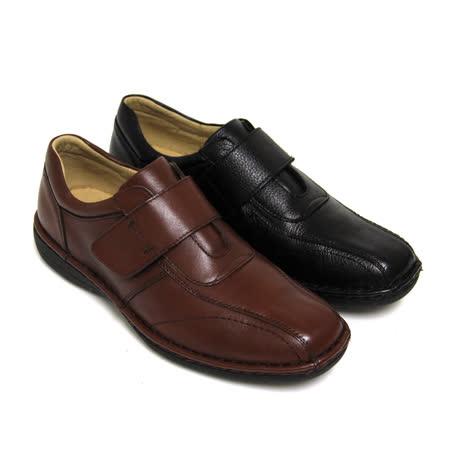 【GREEN PHOENIX】簡單線條手縫沾黏式全真皮氣墊休閒皮鞋(男款)