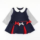 【愛的世界】pappa&ciccia 英格蘭女孩系列彈性蝴蝶結洋裝/6個月~3歲-台灣製-