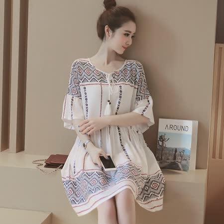 【Kate Classic 】民族風印花寬鬆休閒洋裝DS178