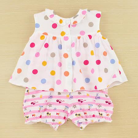 【愛的世界】LOVEWORLD 海邊系列清涼無袖假兩件衣連褲/3個月~1歲-台灣製-