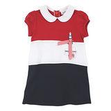 【愛的世界】pappa&ciccia 海灘小兔系列橫紋泡泡袖洋裝/6~10歲-台灣製-