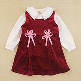 【愛的世界】MYBABY 小白兔系列剪絨背心洋裝套裝/1~4歲-台灣製-
