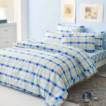 LAMINA 經典格紋-藍 三件式被套床包組(單人)