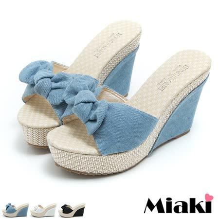 【Miaki】涼拖韓版單寧坡跟楔型涼鞋 (白色 / 藍色 / 黑色)