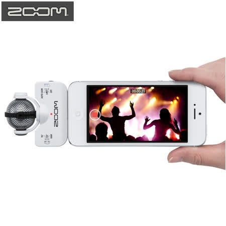 日本Zoom白色iQ5立體聲數位錄音麥克風 適iPhone iPad iPod 5s 5c 6s 6 +SE