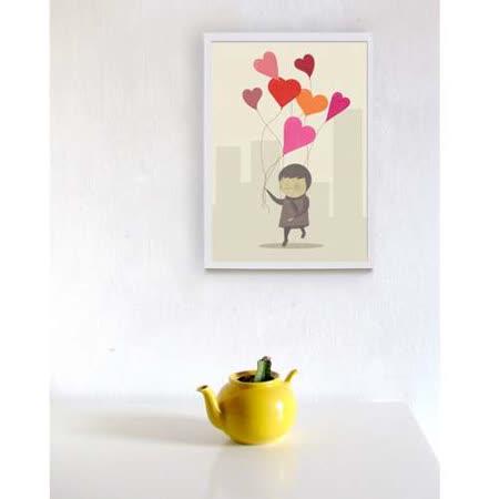 【摩達客】西班牙插畫家Judy Kaufmann藝術海報掛畫裝飾畫-愛的氣球(附Judy本人簽名)(含木框)