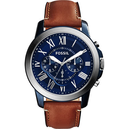 FOSSIL Grant 旗艦三眼計時腕錶-藍x棕/44mm FS5151