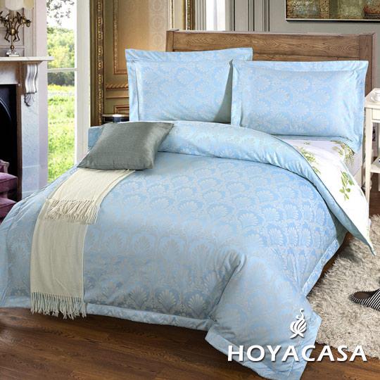 ~HOYACASA 貝加爾~雙人四件式300織緹花長絨棉兩用被床包組