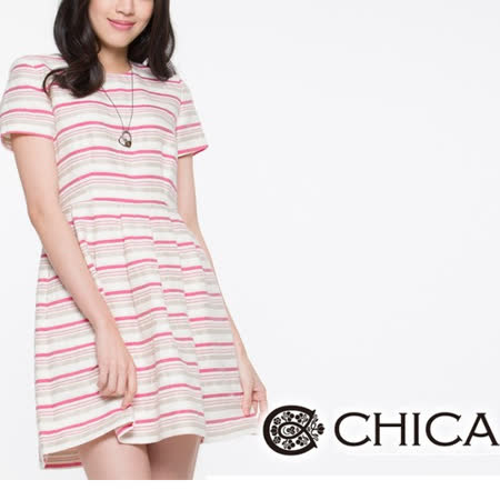 CHICA 粉彩條紋洋裝-桃紅條