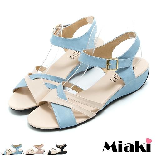 ~Miaki~MIT 涼鞋追韓必敗露趾低跟涼拖 ^(粉色 藍色 黑色^)