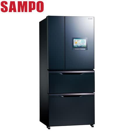 SAMPO聲寶 560公升AIE智慧節能絕PAD四門變頻冰箱SR-NW56PI(B3)送安裝+奇美14吋DC立扇