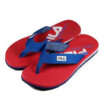 (男) FILA 織帶夾腳拖鞋 紅藍 鞋全家福