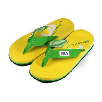 (女) FILA 織帶夾腳拖鞋 黃綠 鞋全家福