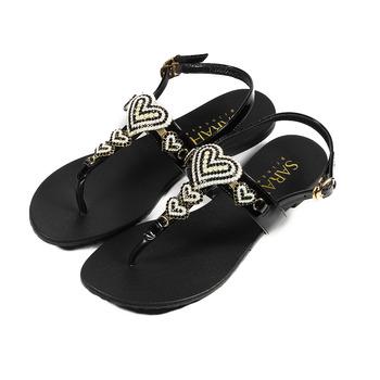 (女) SARAH PRINCESS 真皮串心人字涼鞋 黑 鞋全家福