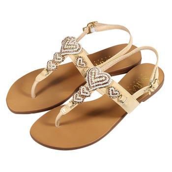 (女) SARAH PRINCESS 真皮串心人字涼鞋 裸 鞋全家福