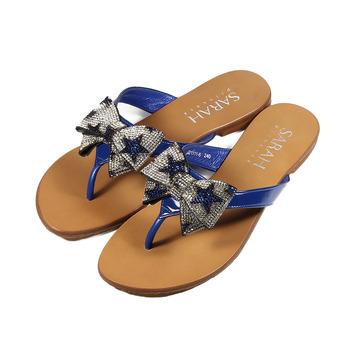(女) SARAH PRINCESS 真皮滿天星蝴蝶夾腳拖鞋 寶藍 鞋全家福