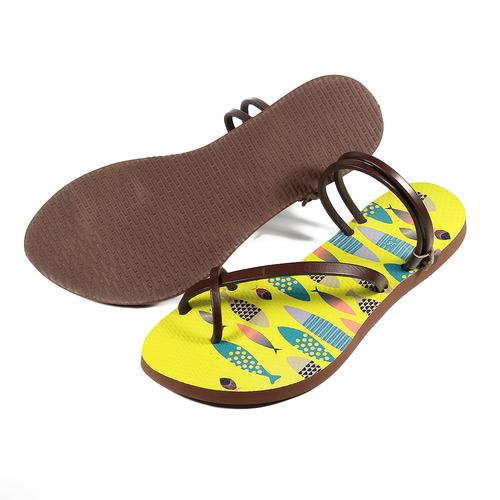 女  真皮兩穿式夾腳拖鞋 黃 小魚  鞋全家福