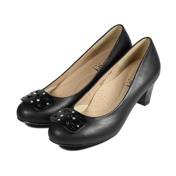 (女) SARAH PRINCESS 星星飾片真皮高跟鞋 黑 鞋全家福