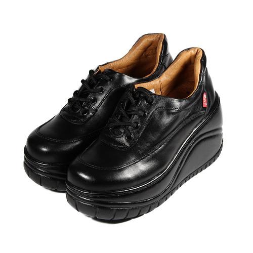 ^(女^) ZOBR 牛皮四孔鞋釦厚底休閒鞋 黑 鞋全家福