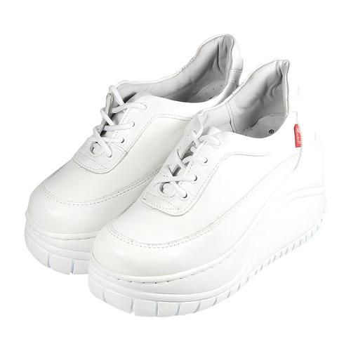 ^(女^) ZOBR 牛皮四孔鞋釦厚底休閒鞋 白 鞋全家福