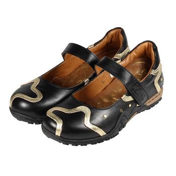(女) ZOBR 牛皮黏帶娃娃休閒鞋 黑金 鞋全家福