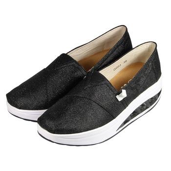 (女) ISSA 金蔥素面輕量健走鞋 黑 鞋全家福