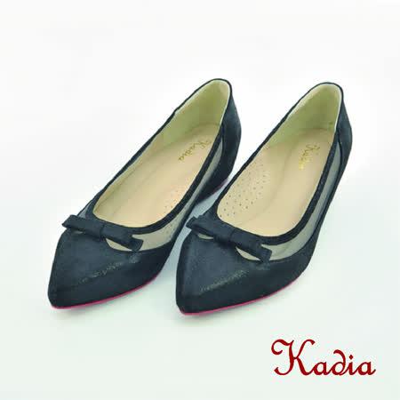Kadia.氣質蝴蝶結尖頭低跟鞋(黑色)